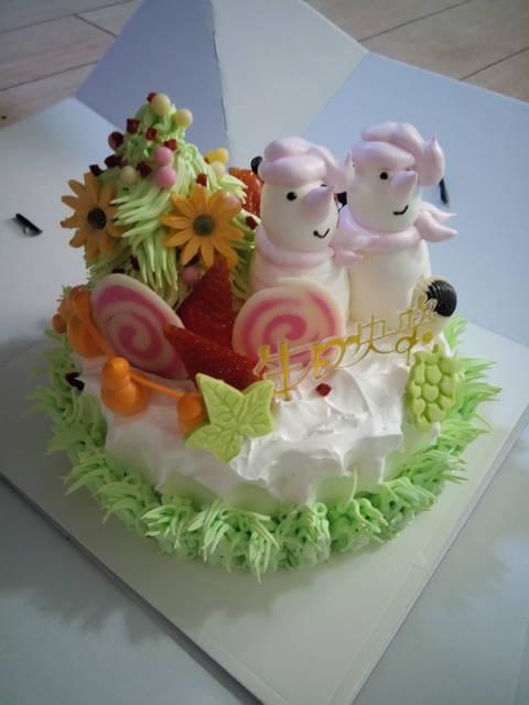 看悦悦的生日蛋糕可爱吗?